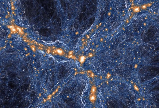 Simulasi galaksi dan gas di alam semesta. Kredit: TNG Collaboration