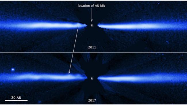 Gumpalan materi bergerak cepat menyapu piringan di sekitar bintang AU Microscopii. Kredit: NASA, ESA, J. Wisniewski (University of Oklahoma), C. Grady (Eureka Scientific), & G. Schneider (Steward Observatory)