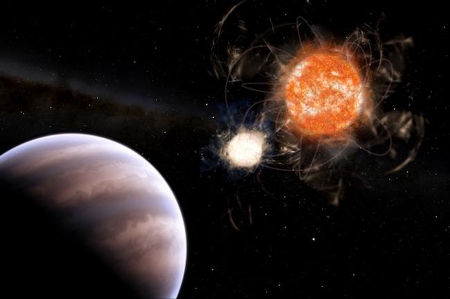 Ilustrasi planet raksasa mengitari bintang ganda. Kredit: Leandro Almeida