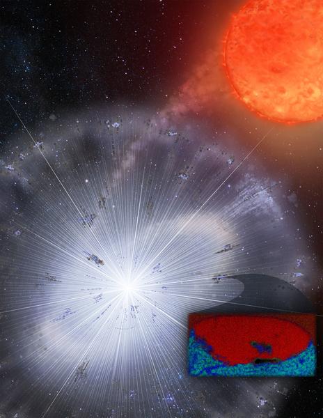 Butiran debu bintang dalam meteorit (inset) yang berasal dari ledakan bintang. Kredit:Heather Roper/University of Arizona