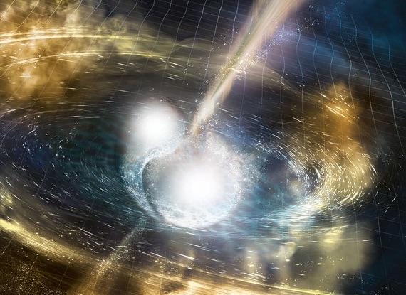 Ilustrasi tabrakan bintang neutron. Kredit: NSF/LIGO/Sonoma State University/A. Simonnet