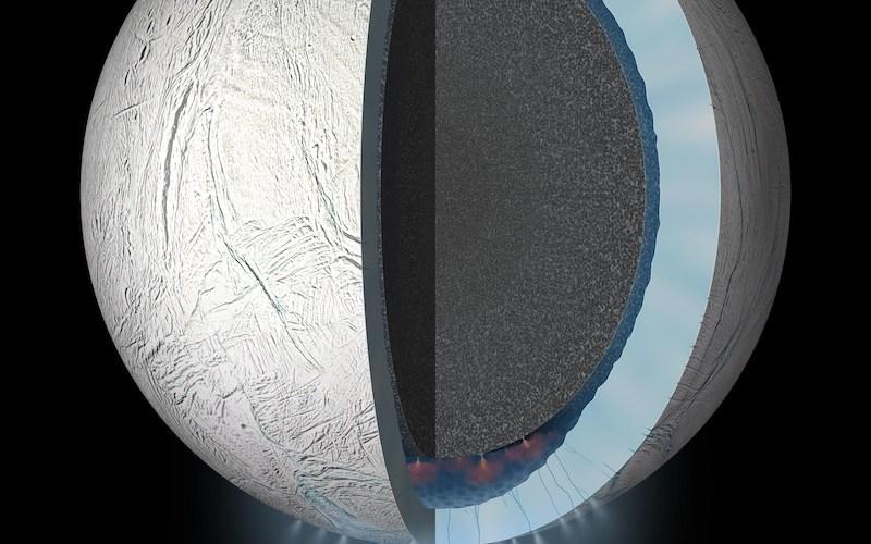 Struktur interior Enceladus. Kredit: NASA/JPL-Caltech