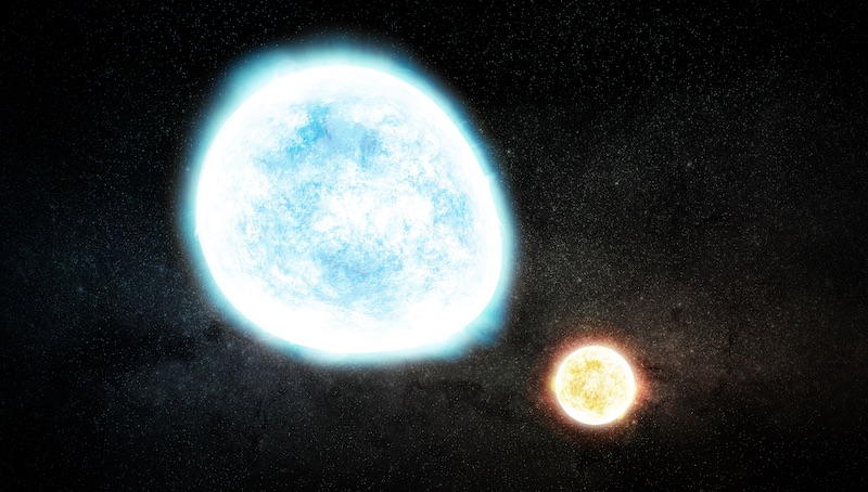 Ilustrasi bintang katai putih ganda yang massanya sangat rendah. Kredit: Melissa Weiss