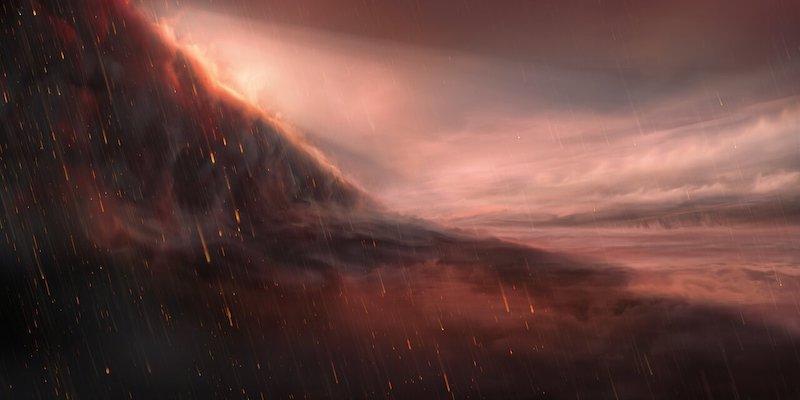 Ilustrasi sisi malam eksoplanet WASP-76b yang mengalami hujan besi. Kredit: ESO/M. Kornmesser