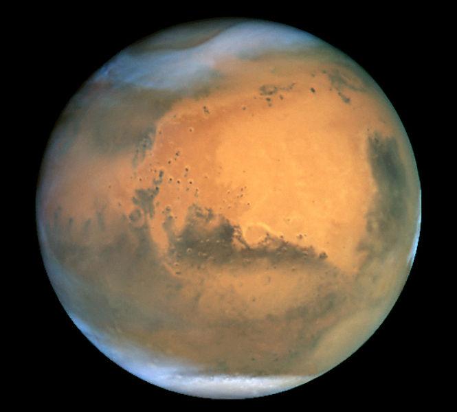 Marte, fotografado pelo Telescópio Espacial Hubble.