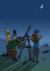 Dessin observation du ciel nocturne