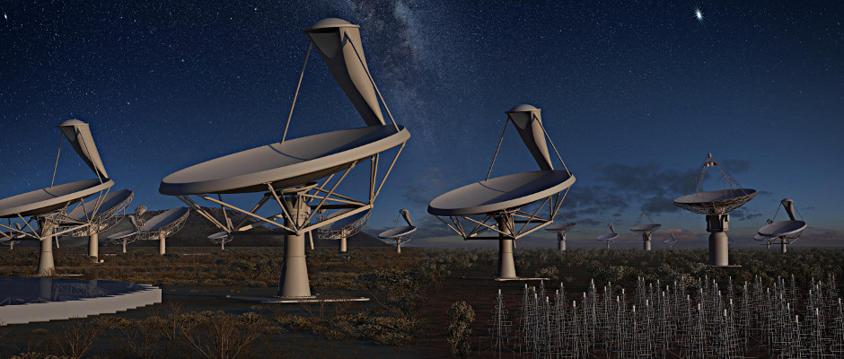 Artist's impression of the Square Kilometre Array (SKA) at night. Image credit: SKA Organisation