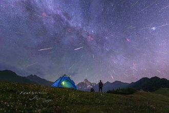 2016 Perseids over Four Girls Mountain. Image Credit & Copyright: Alvin Wu