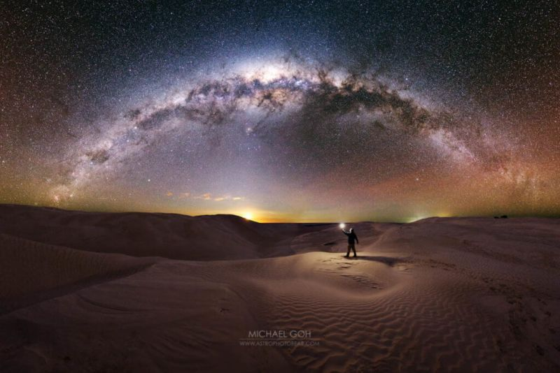 photo of me standing in dunes to the milky way