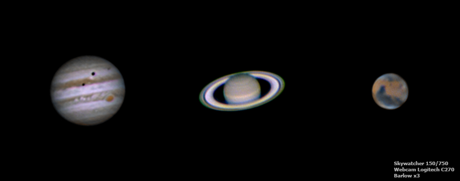 Planetary imaging with Skywatcher 150/750 : Jupiter, Saturne and Mars