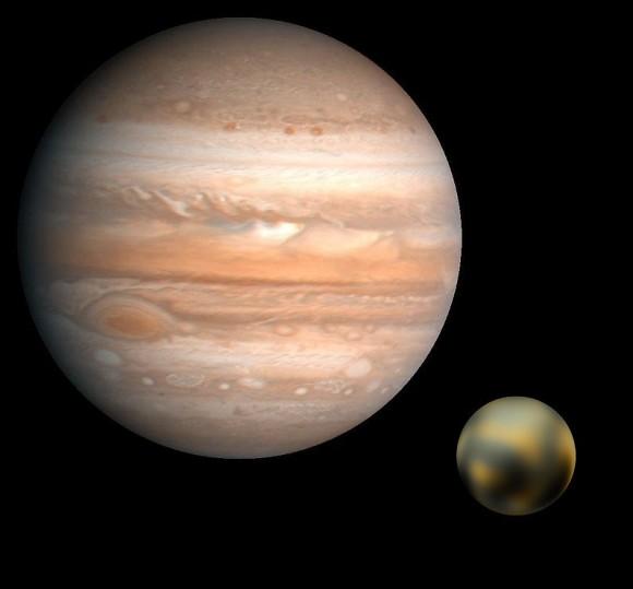 Uma mentira de 1 de Abril: Plutão teria passado a ser uma lua de Júpiter. Crédito das imagens: NASA/JPL/USGS(Jupiter) & NASA/ESA & M. Buie of the SWRI (Plutão), com o photoshop a ficar a cargo do professor David Dickinson.