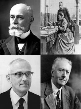 Sentido-horário:  Antoine Henri Becquerel, Casal Curie, Arthur Holmes e Clair Cameron Patterson
