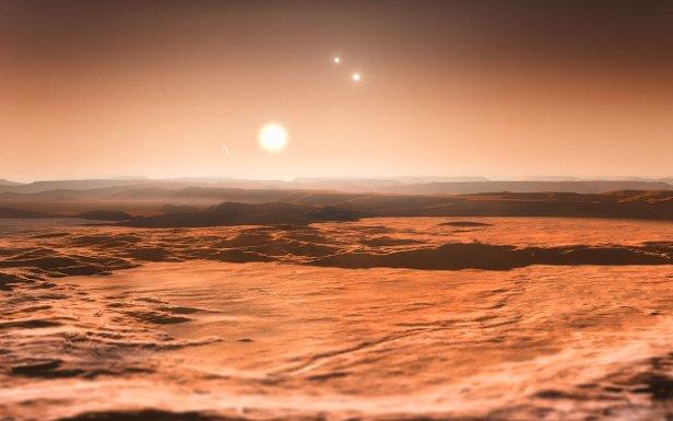 O sistema de Gliese 667 (Ilustração: ESO/M. Kornmesser)