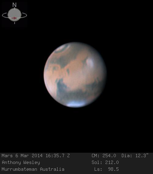 Marte fotografado no dia 6 de Março de 2014 pelo astrónomo amador Australiano Anthony Wesley, através de um telescópio de 16 polegadas. Crédito: Anthony Wesley