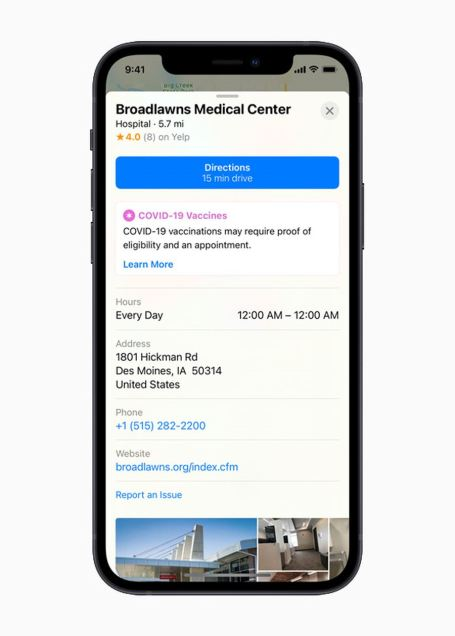 Apple Maps Now Helps You Find COVID-19 Vaccination Sites