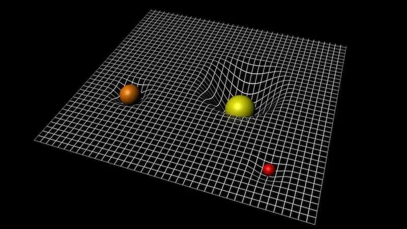 Ilustracija zakrivljenosti prostor-vremena uz postojanje mase; izvor: ESA–C.Carreau