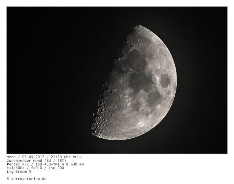 Zunehmender Mond (8d/58%) / 03.05.2017