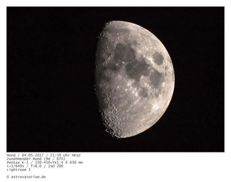 Zunehmender Mond (9d/67%) / 04.05.2017