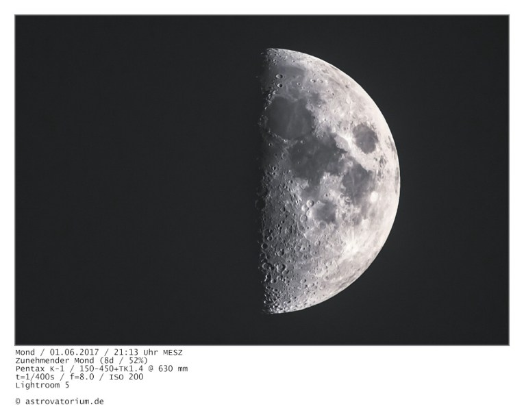 Zunehmender Mond (8d/52%) / 01.06.2017