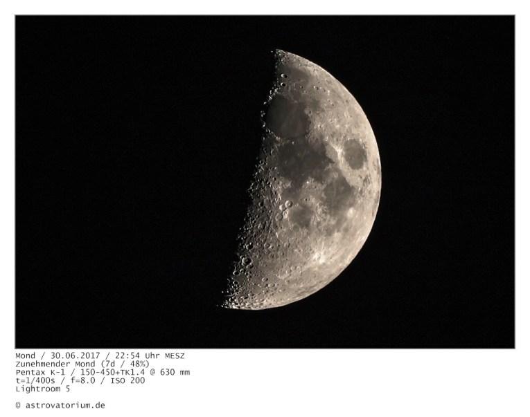 Zunehmender Mond (7d/48%) / 30.06.2017