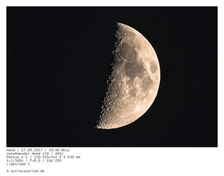 Zunehmender Mond (5d/28%) / 25.09.2017