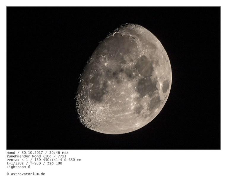 Zunehmender Mond (10d/77%) /30.10.2017