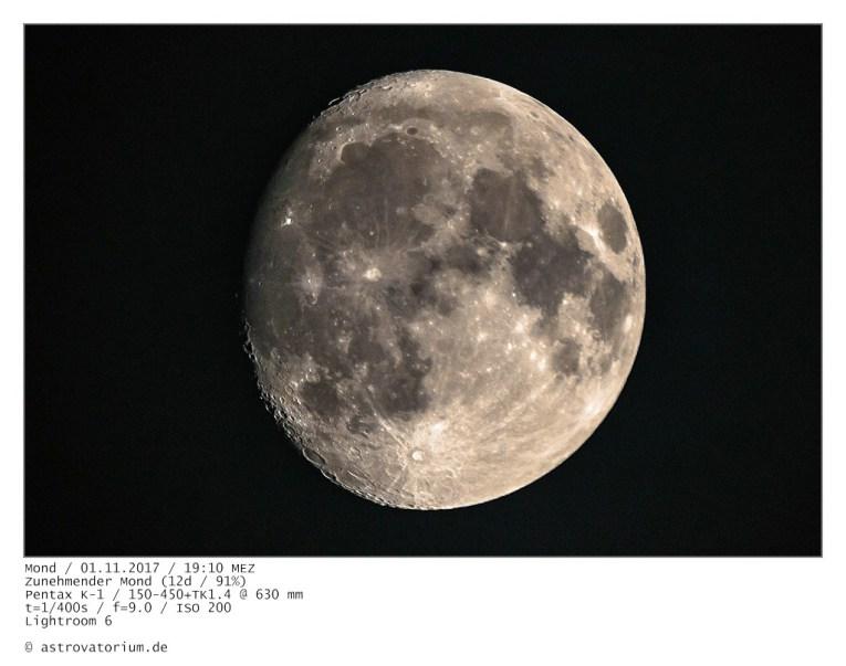 Zunehmender Mond (12d/91%) / 01.11.2017