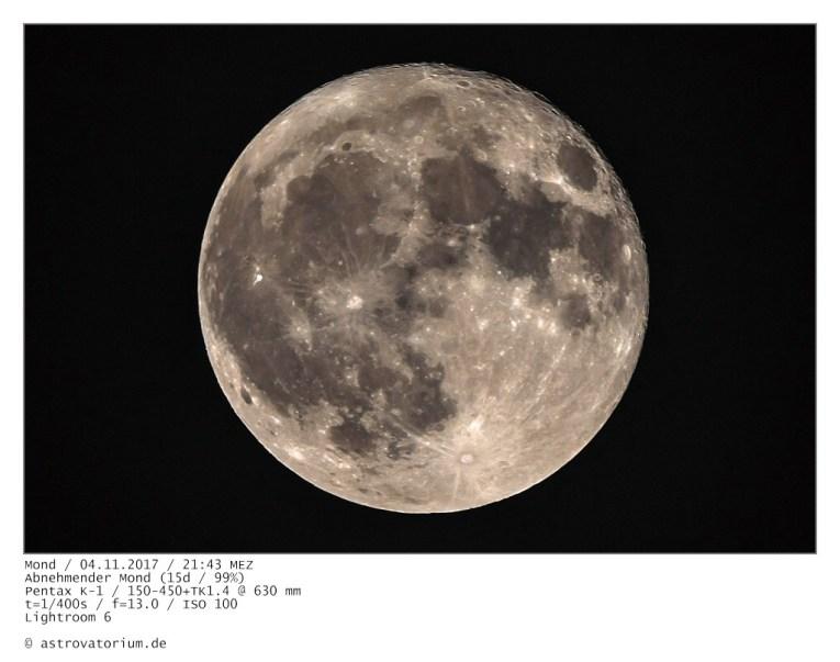 Abnehmender Mond (15d/99%) / 04.11.2017