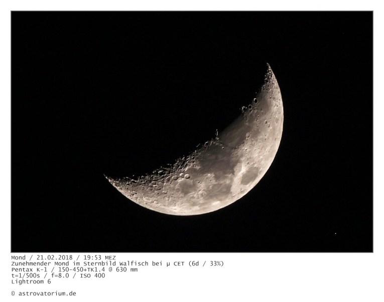 Zunehmender Mond im Walfisch