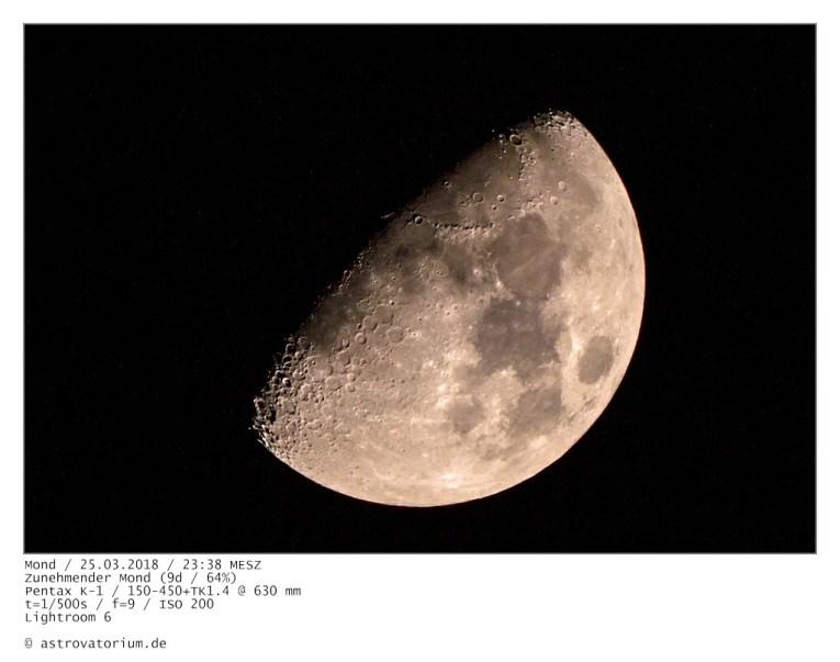 Zunehmender Mond (9d/64%) / 25.03.2018