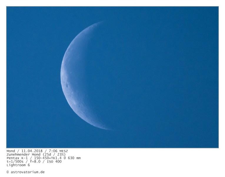 Abnehmender Mond (25d/23%) / 11.04.2018