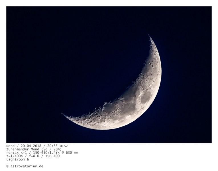 Zunehmender Mond (5d/26%)