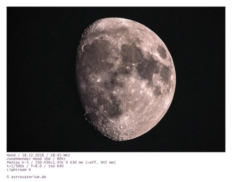 Zunehmender Mond (10d/80%) 18.12.2018