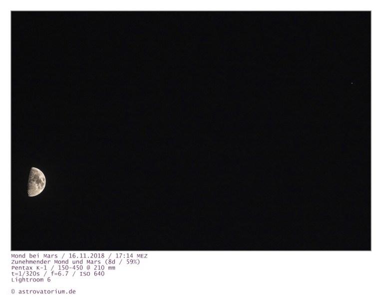 181116 Zunehmender Mond bei Mars 8d_59vH