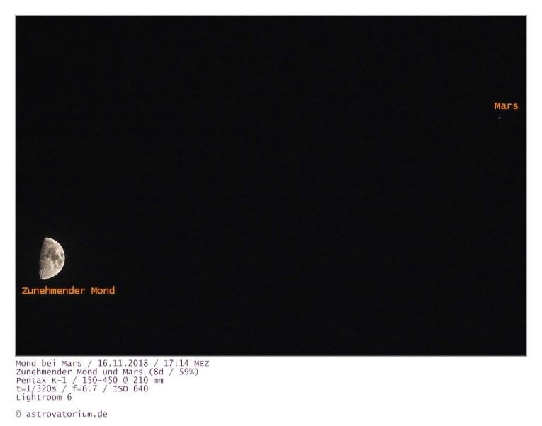 181116 Zunehmender Mond bei Mars 8d_59vH_beschriftet