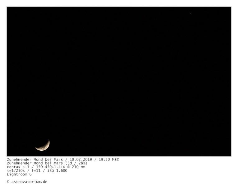 190210 Zunehmender Mond bei Mars 5d_28vH