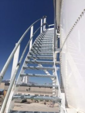 Stairs leading to the top of a storage tank