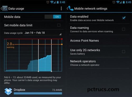 Désactiver mobile data
