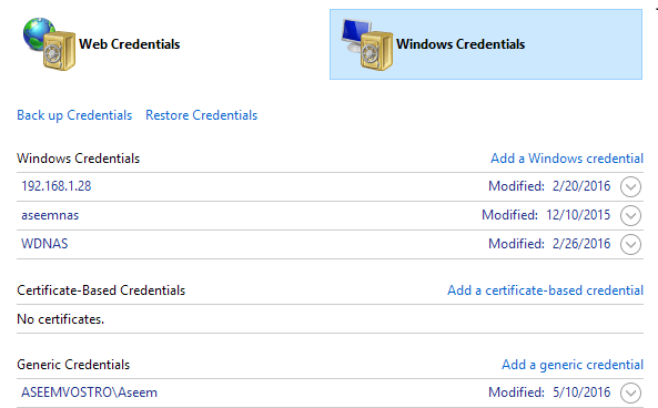 windows credentials
