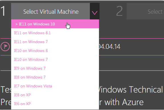 Sélectionner la machine virtuelle