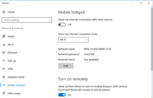 Paramétre hotspot mobile