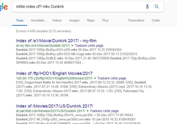 Chercher lien direct d'un film avec Google chrome