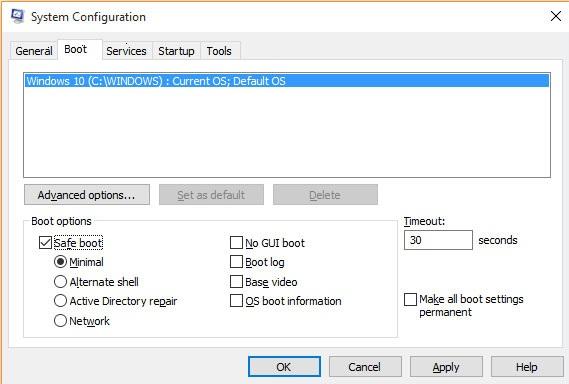 Démarrage mode sans échec - Windows 10