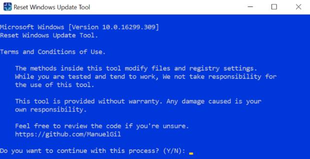 réinitialiser l'outil de mise à jour Windows