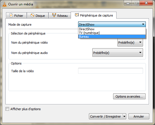 VLC - enregistrer bureau