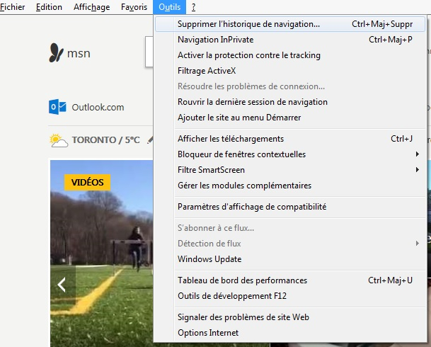 Internet explorer 11 supprimer cache