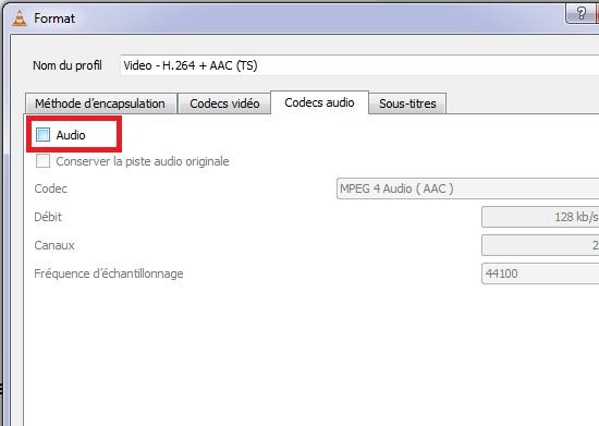 décocher l'option audio dans vlc