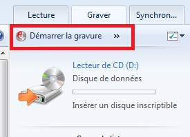 Windows 10 - démarrage gravure CD
