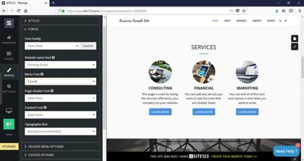 site123 - logiciel de création de site web