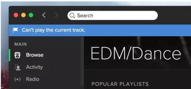 Spotify - problèmes de lecture de piste